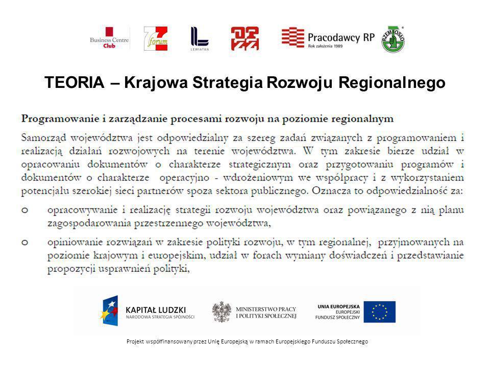 Projekt współfinansowany przez Unię Europejską w ramach Europejskiego Funduszu Społecznego TEORIA – Krajowa Strategia Rozwoju Regionalnego
