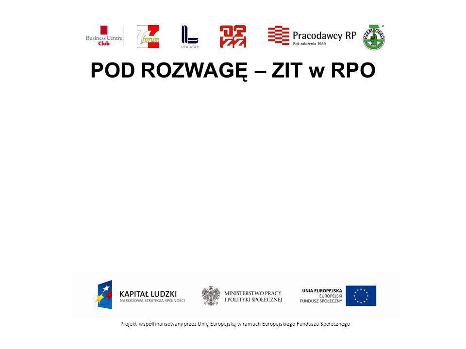 POD ROZWAGĘ – ZIT w RPO Projekt współfinansowany przez Unię Europejską w ramach Europejskiego Funduszu Społecznego