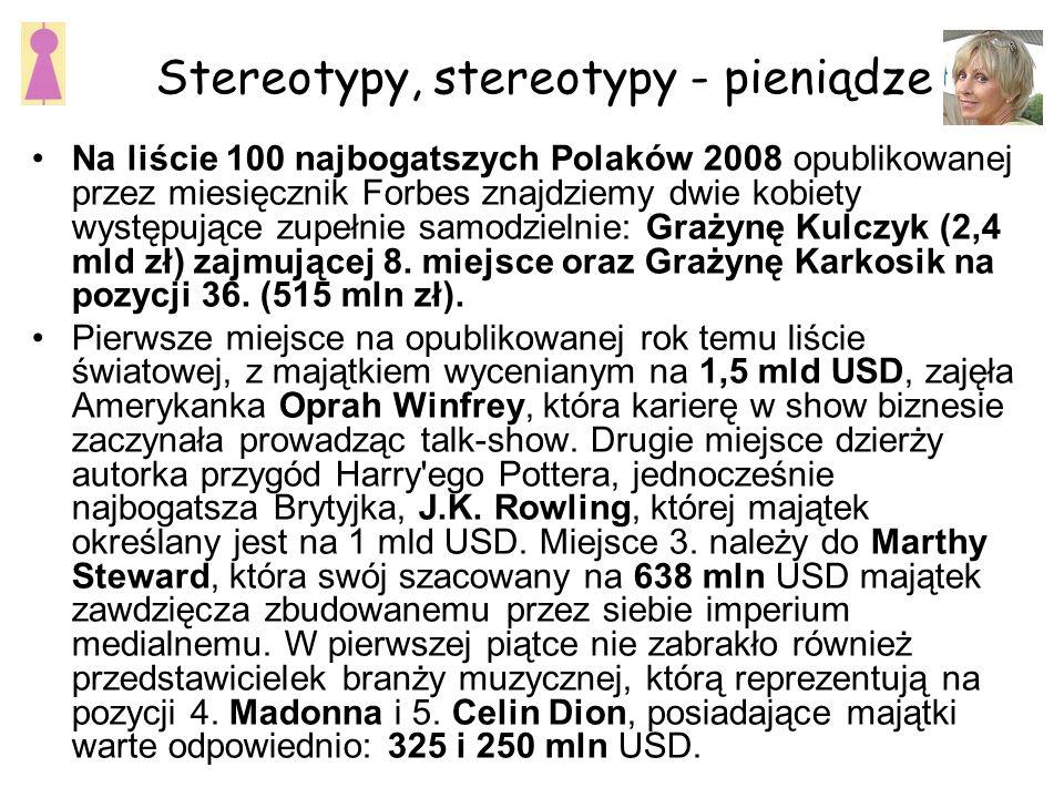 Stereotypy, stereotypy - pieniądze Na liście 100 najbogatszych Polaków 2008 opublikowanej przez miesięcznik Forbes znajdziemy dwie kobiety występujące zupełnie samodzielnie: Grażynę Kulczyk (2,4 mld zł) zajmującej 8.