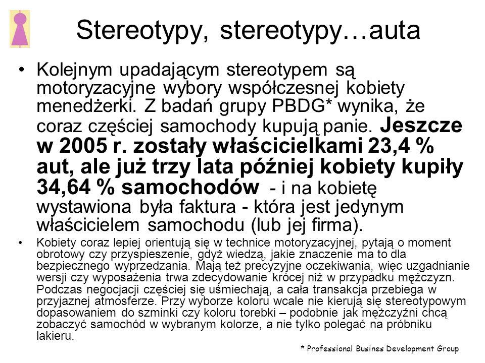 Stereotypy, stereotypy…auta Kolejnym upadającym stereotypem są motoryzacyjne wybory współczesnej kobiety menedżerki.