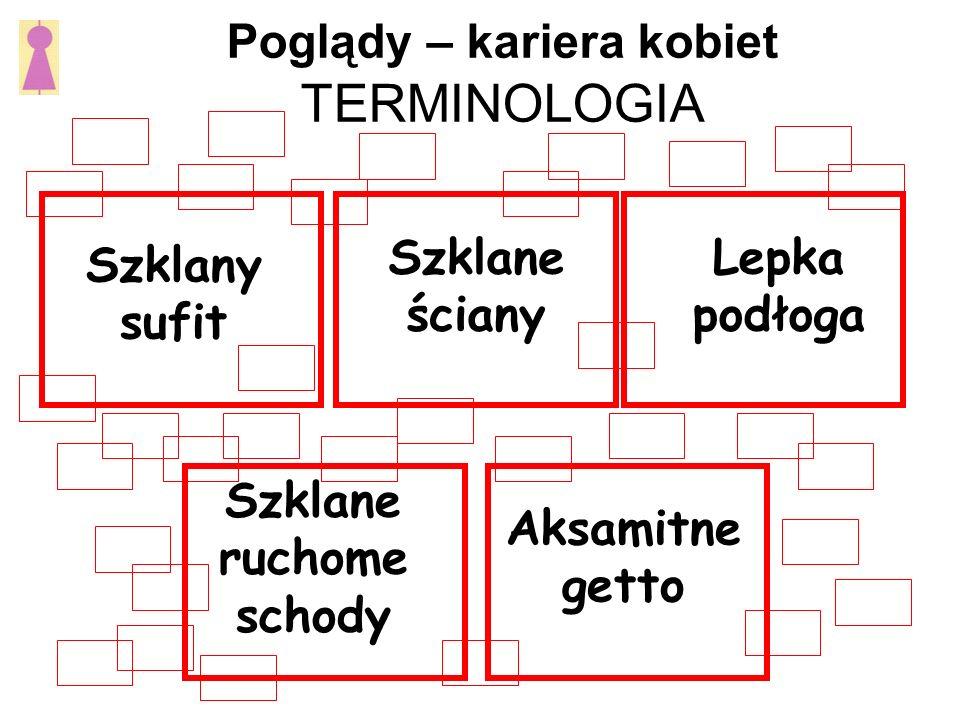 Poglądy – kariera kobiet TERMINOLOGIA Szklany sufit Szklane ściany Lepka podłoga Szklane ruchome schody Aksamitne getto