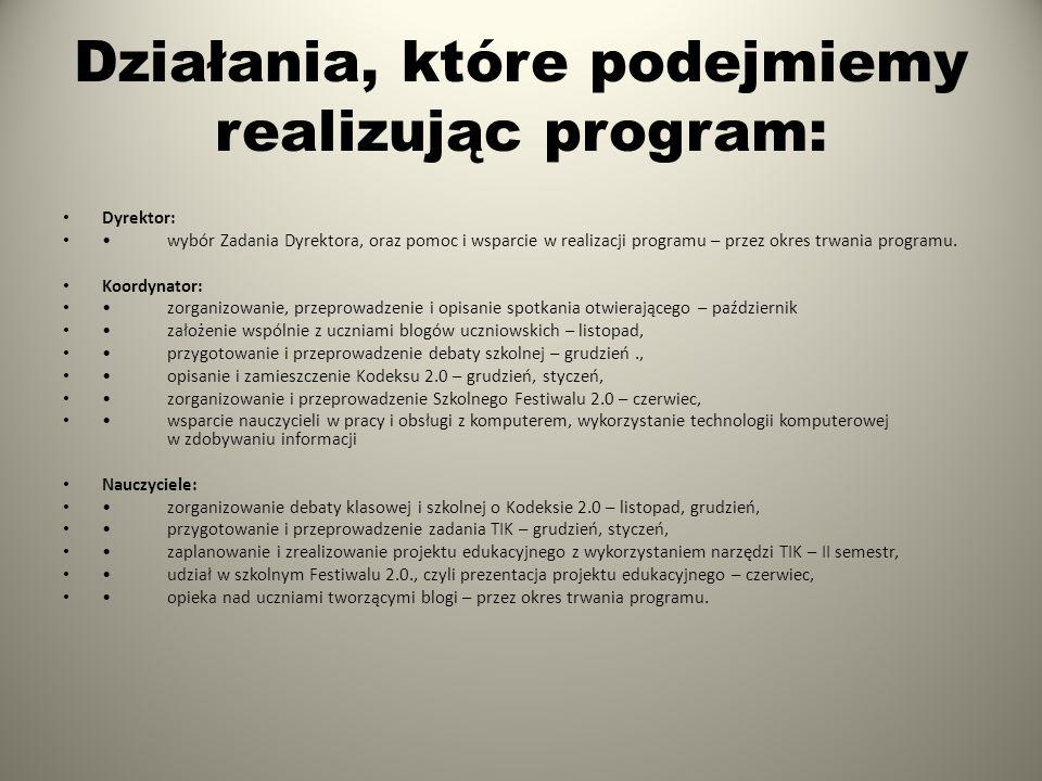 Działania, które podejmiemy realizując program: Dyrektor: wybór Zadania Dyrektora, oraz pomoc i wsparcie w realizacji programu – przez okres trwania p