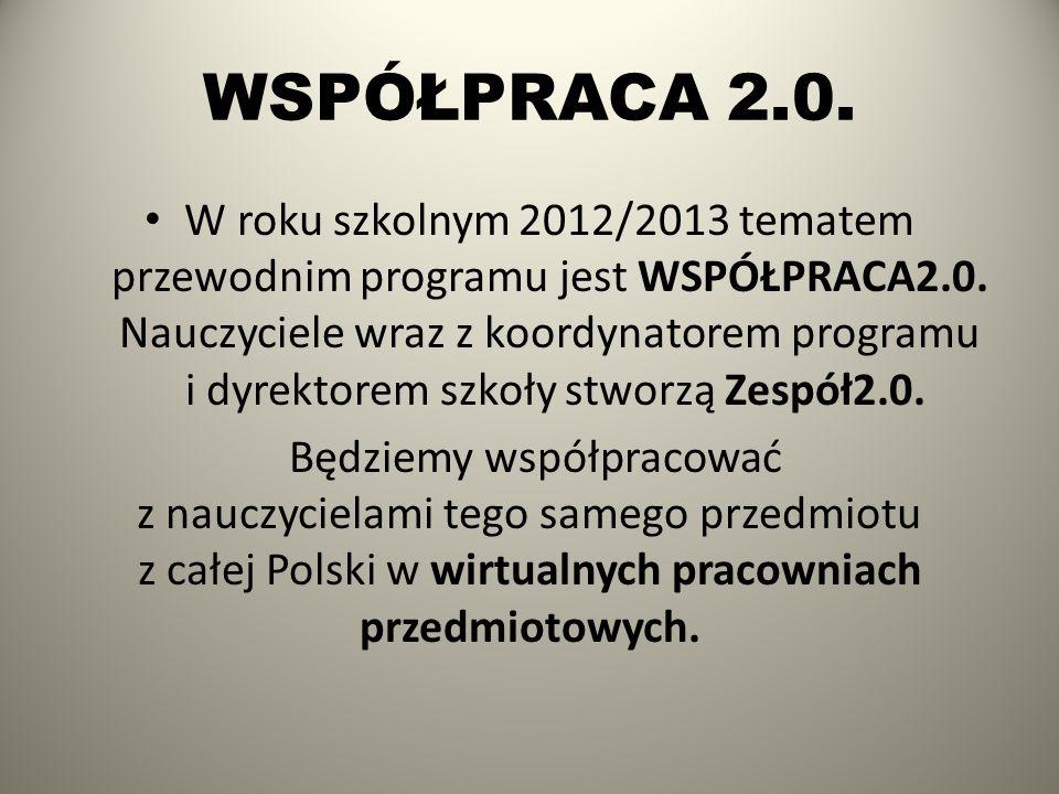 WSPÓŁPRACA 2.0. W roku szkolnym 2012/2013 tematem przewodnim programu jest WSPÓŁPRACA2.0. Nauczyciele wraz z koordynatorem programu i dyrektorem szkoł