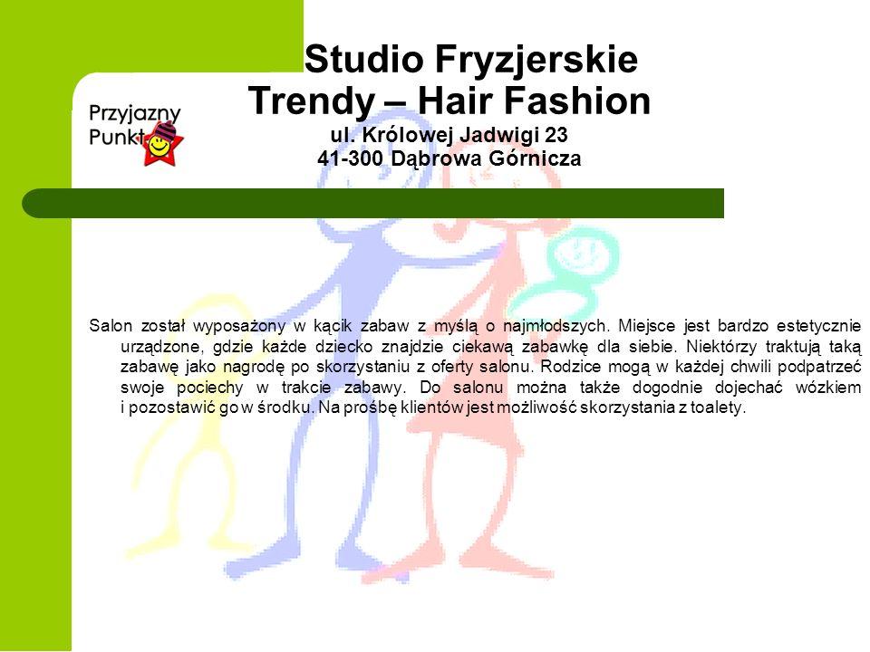 Studio Fryzjerskie Trendy – Hair Fashion ul. Królowej Jadwigi 23 41-300 Dąbrowa Górnicza Salon został wyposażony w kącik zabaw z myślą o najmłodszych.