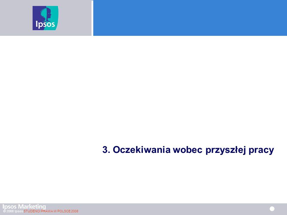 © 2008 Ipsos STUDENCI PRAWA W POLSCE 2008 3. Oczekiwania wobec przyszłej pracy