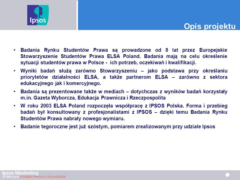 © 2008 Ipsos STUDENCI PRAWA W POLSCE 2008 Opis projektu Badania Rynku Studentów Prawa są prowadzone od 8 lat przez Europejskie Stowarzyszenie Studentów Prawa ELSA Poland.
