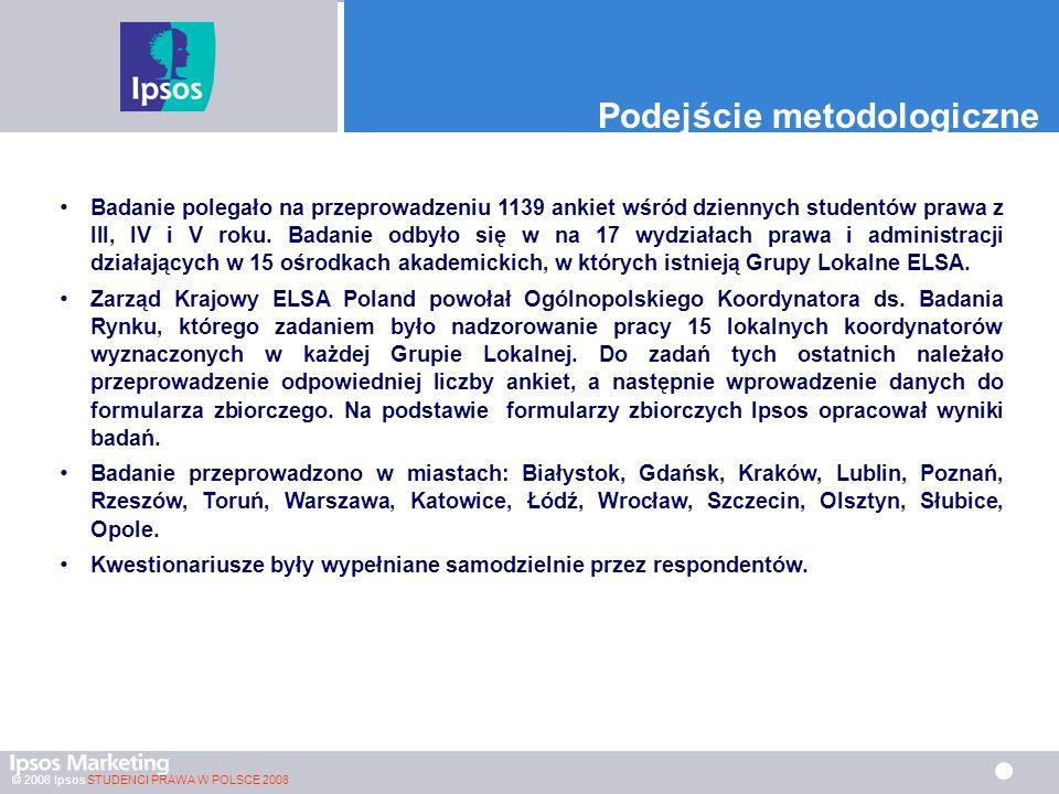 © 2008 Ipsos STUDENCI PRAWA W POLSCE 2008 Czytelnictwo czasopism prawniczych PORÓWNANIE MIĘDZY LATAMI Czyta w ogóle (żółte strony) 23.