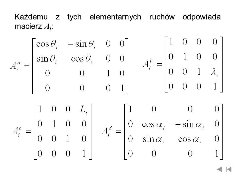 Każdemu z tych elementarnych ruchów odpowiada macierz A i :