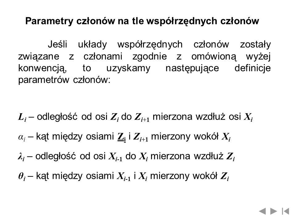Parametry członów na tle współrzędnych członów Jeśli układy współrzędnych członów zostały związane z członami zgodnie z omówioną wyżej konwencją, to u