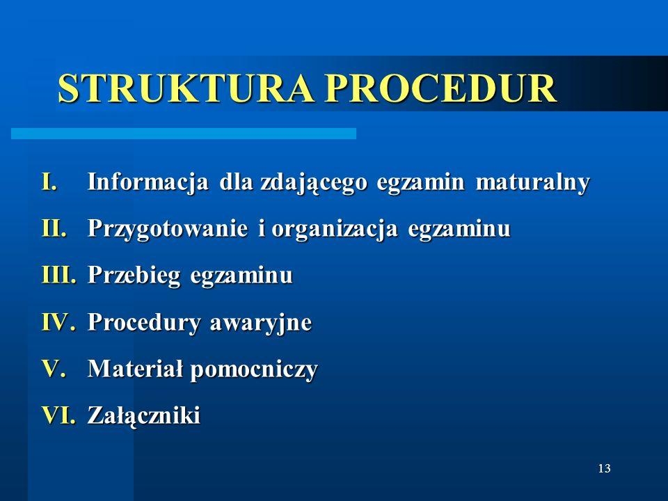 13 STRUKTURA PROCEDUR I.Informacja dla zdającego egzamin maturalny II.Przygotowanie i organizacja egzaminu III.Przebieg egzaminu IV.Procedury awaryjne