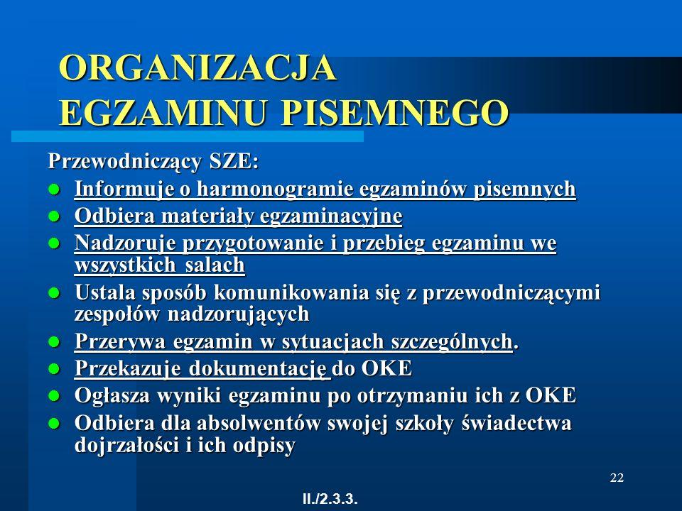 22 ORGANIZACJA EGZAMINU PISEMNEGO Przewodniczący SZE: Informuje o harmonogramie egzaminów pisemnych Informuje o harmonogramie egzaminów pisemnych Info