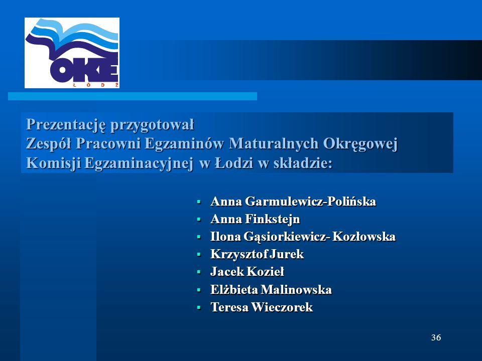 36 Prezentację przygotował Zespół Pracowni Egzaminów Maturalnych Okręgowej Komisji Egzaminacyjnej w Łodzi w składzie: Anna Garmulewicz-Polińska Anna G
