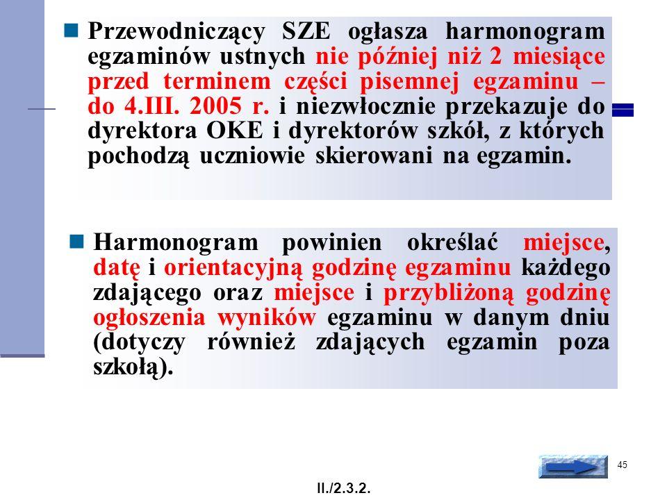 45 Przewodniczący SZE ogłasza harmonogram egzaminów ustnych nie później niż 2 miesiące przed terminem części pisemnej egzaminu – do 4.III. 2005 r. i n