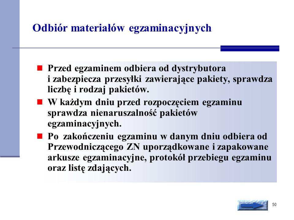 50 Odbiór materiałów egzaminacyjnych Przed egzaminem odbiera od dystrybutora i zabezpiecza przesyłki zawierające pakiety, sprawdza liczbę i rodzaj pak