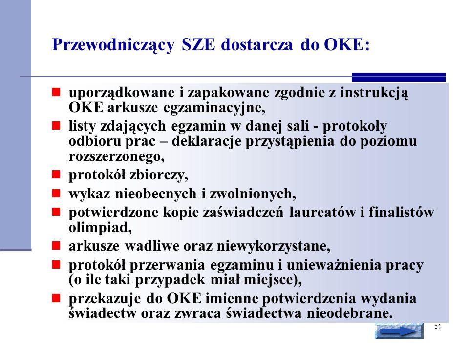 51 Przewodniczący SZE dostarcza do OKE: uporządkowane i zapakowane zgodnie z instrukcją OKE arkusze egzaminacyjne, listy zdających egzamin w danej sal