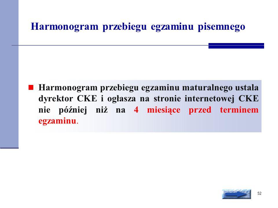 52 Harmonogram przebiegu egzaminu pisemnego Harmonogram przebiegu egzaminu maturalnego ustala dyrektor CKE i ogłasza na stronie internetowej CKE nie p