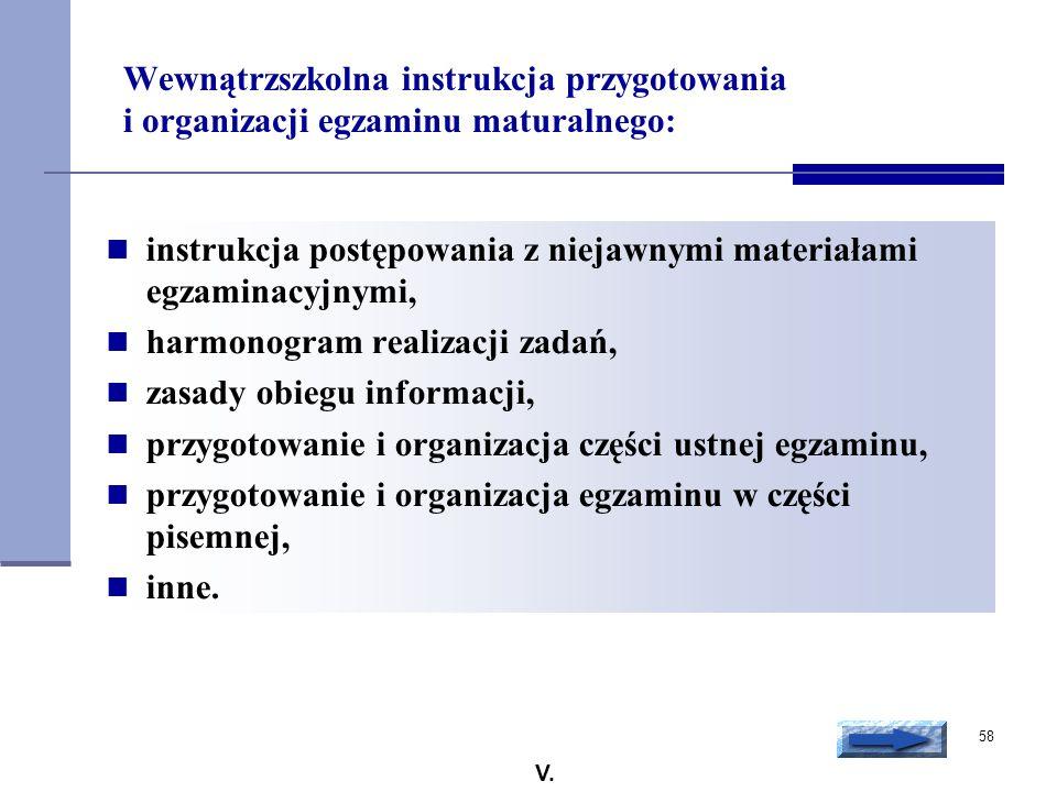 58 Wewnątrzszkolna instrukcja przygotowania i organizacji egzaminu maturalnego: instrukcja postępowania z niejawnymi materiałami egzaminacyjnymi, harm