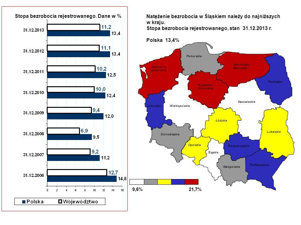 Stopa bezrobocia rejestrowanego. Dane w %Natężenie bezrobocia w Śląskiem należy do najniższych w kraju. Stopa bezrobocia rejestrowanego, stan 31.12.20