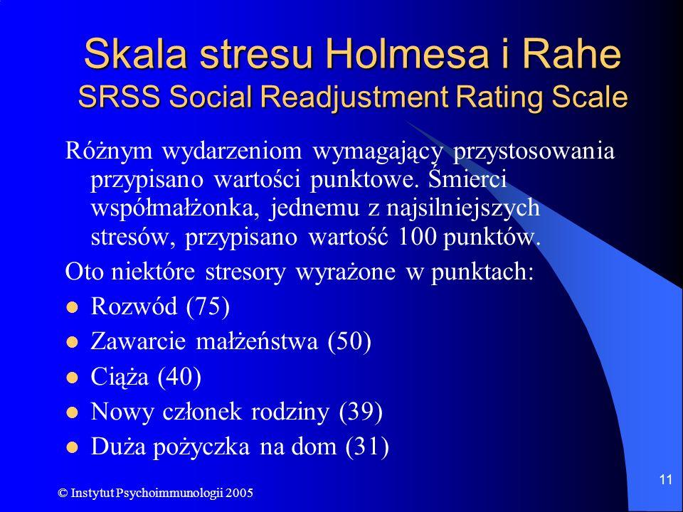 © Instytut Psychoimmunologii 2005 11 Skala stresu Holmesa i Rahe SRSS Social Readjustment Rating Scale Różnym wydarzeniom wymagający przystosowania pr