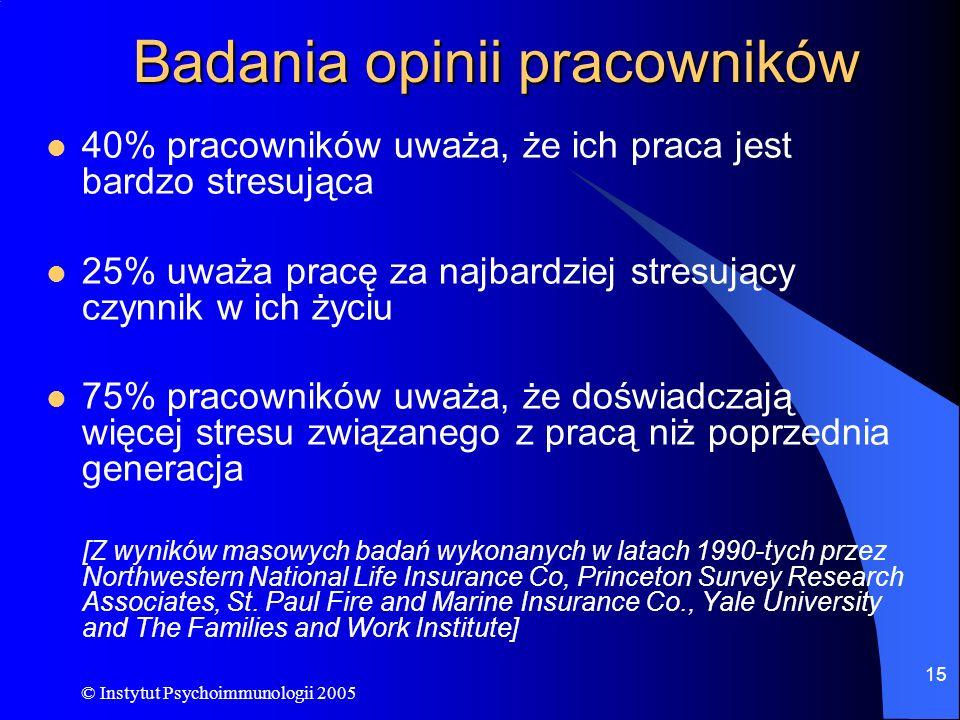 © Instytut Psychoimmunologii 2005 15 Badania opinii pracowników 40% pracowników uważa, że ich praca jest bardzo stresująca 25% uważa pracę za najbardz