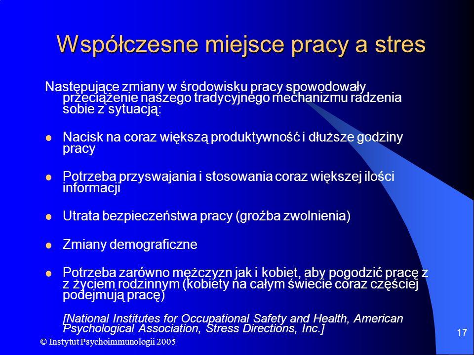 © Instytut Psychoimmunologii 2005 17 Współczesne miejsce pracy a stres Następujące zmiany w środowisku pracy spowodowały przeciążenie naszego tradycyj