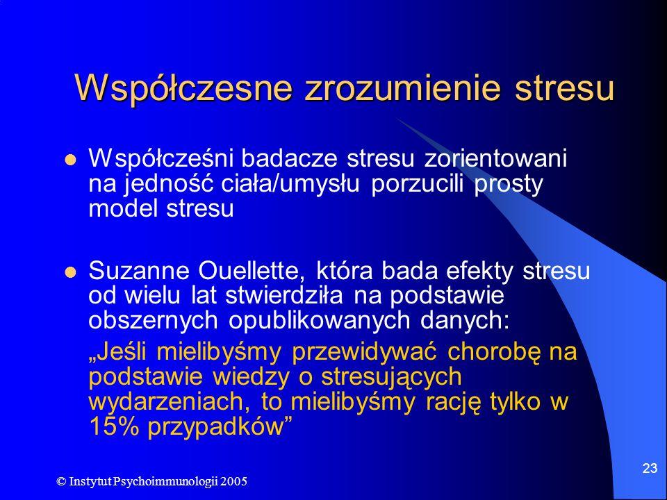 © Instytut Psychoimmunologii 2005 23 Współczesne zrozumienie stresu Współcześni badacze stresu zorientowani na jedność ciała/umysłu porzucili prosty m