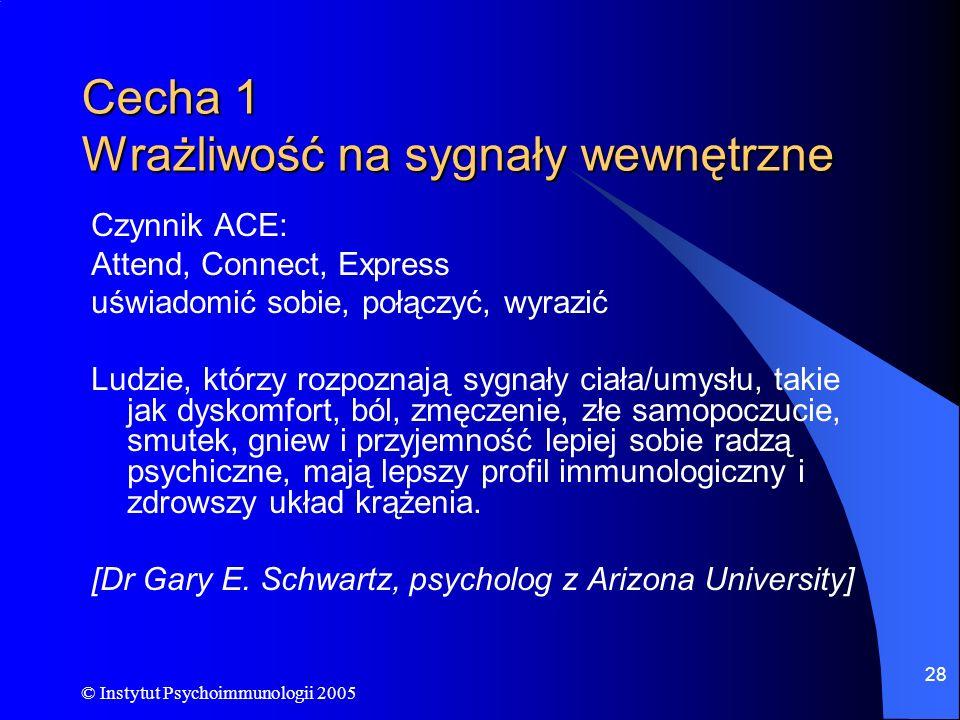 © Instytut Psychoimmunologii 2005 28 Cecha 1 Wrażliwość na sygnały wewnętrzne Czynnik ACE: Attend, Connect, Express uświadomić sobie, połączyć, wyrazi
