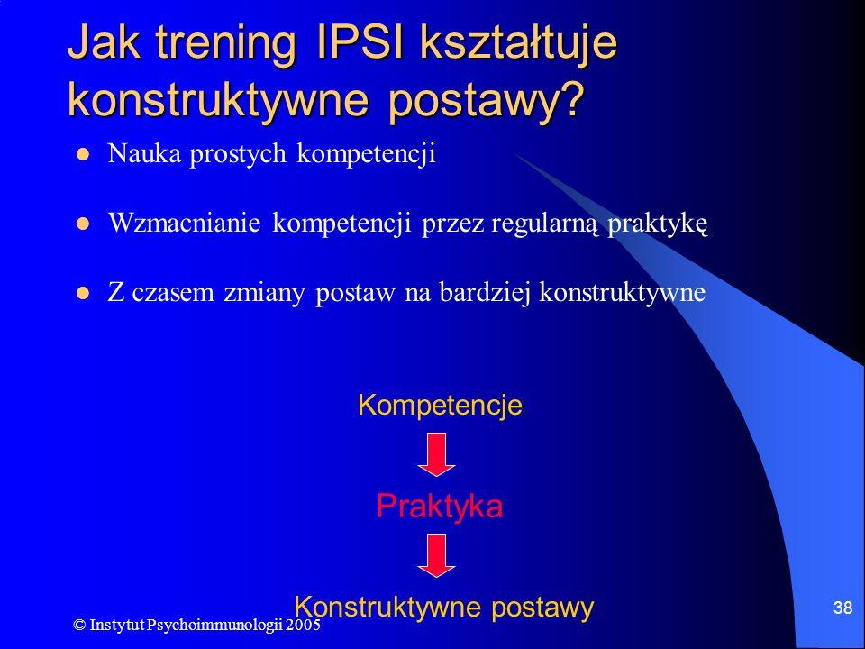 © Instytut Psychoimmunologii 2005 38 Jak trening IPSI kształtuje konstruktywne postawy? Nauka prostych kompetencji Wzmacnianie kompetencji przez regul