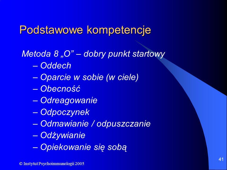© Instytut Psychoimmunologii 2005 41 Podstawowe kompetencje Metoda 8 O – dobry punkt startowy –Oddech –Oparcie w sobie (w ciele) –Obecność –Odreagowan