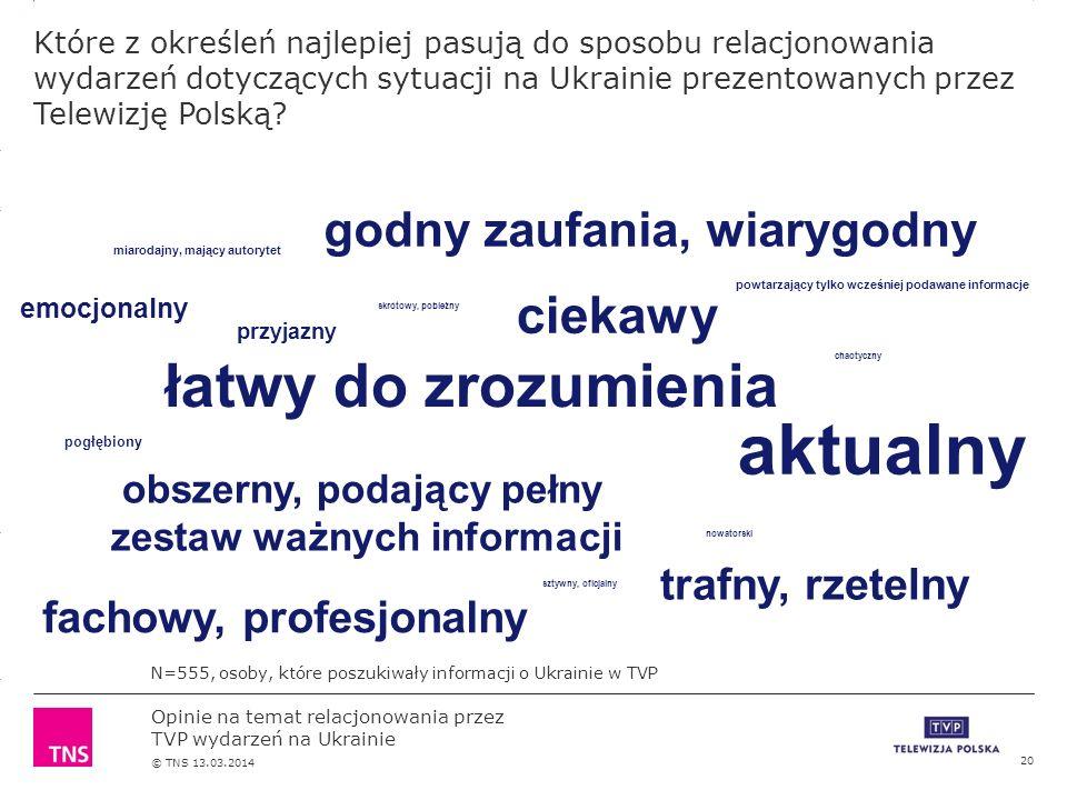 3.14 X AXIS 6.65 BASE MARGIN 5.95 TOP MARGIN 4.52 CHART TOP 11.90 LEFT MARGIN 11.90 RIGHT MARGIN Opinie na temat relacjonowania przez TVP wydarzeń na Ukrainie © TNS 13.03.2014 Które z określeń najlepiej pasują do sposobu relacjonowania wydarzeń dotyczących sytuacji na Ukrainie prezentowanych przez Telewizję Polską.