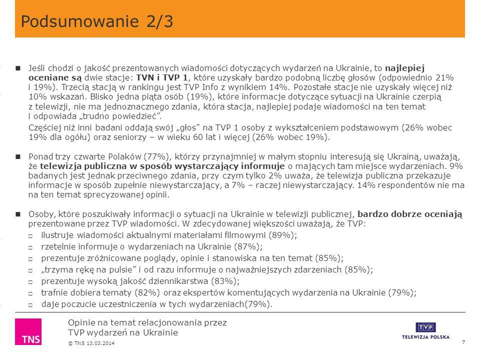 3.14 X AXIS 6.65 BASE MARGIN 5.95 TOP MARGIN 4.52 CHART TOP 11.90 LEFT MARGIN 11.90 RIGHT MARGIN Opinie na temat relacjonowania przez TVP wydarzeń na Ukrainie © TNS 13.03.2014 Podsumowanie 2/3 7 Jeśli chodzi o jakość prezentowanych wiadomości dotyczących wydarzeń na Ukrainie, to najlepiej oceniane są dwie stacje: TVN i TVP 1, które uzyskały bardzo podobną liczbę głosów (odpowiednio 21% i 19%).
