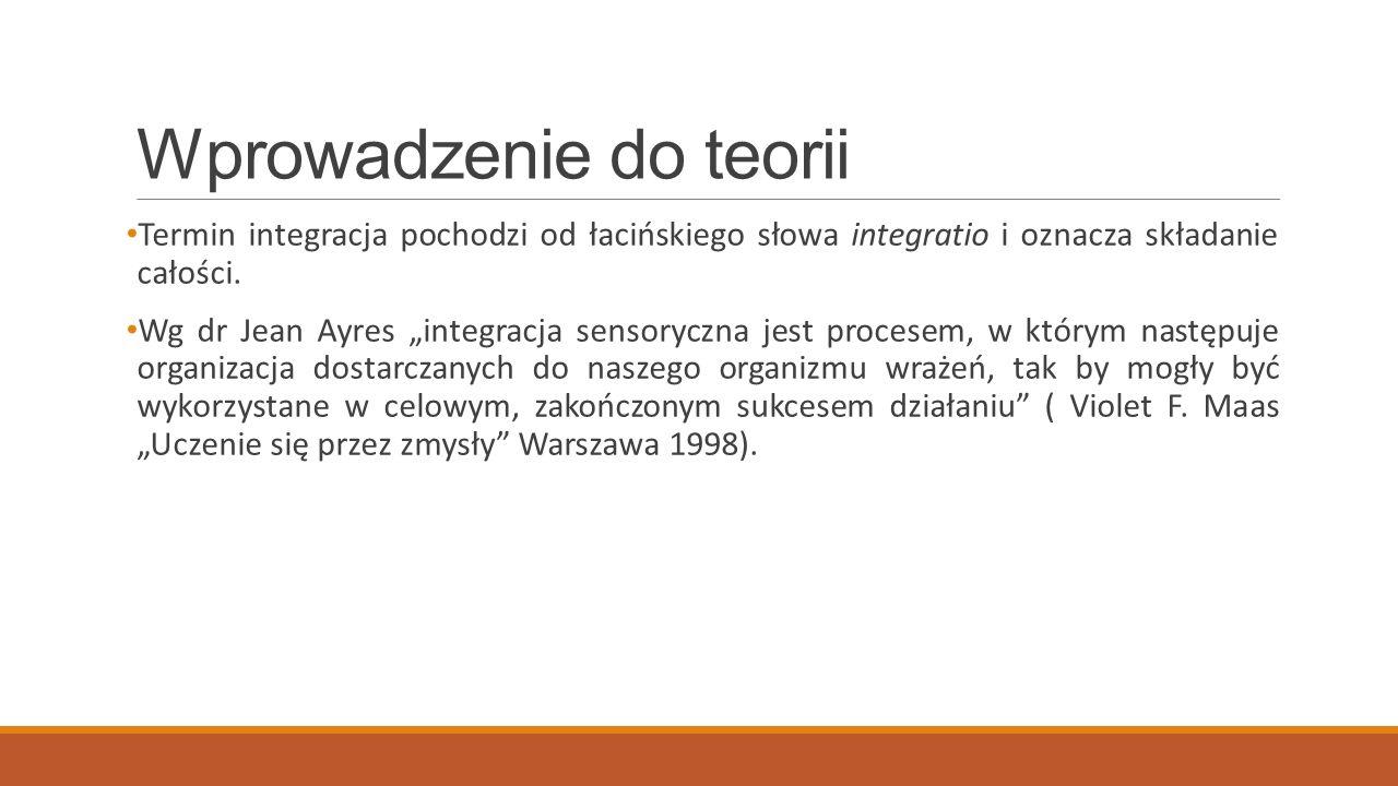 Wprowadzenie do teorii Termin integracja pochodzi od łacińskiego słowa integratio i oznacza składanie całości. Wg dr Jean Ayres integracja sensoryczna
