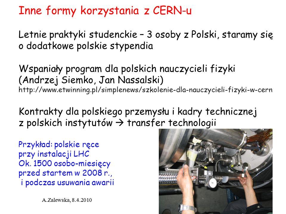 A.Zalewska, 8.4.2010 Inne formy korzystania z CERN-u Letnie praktyki studenckie – 3 osoby z Polski, staramy się o dodatkowe polskie stypendia Wspaniał