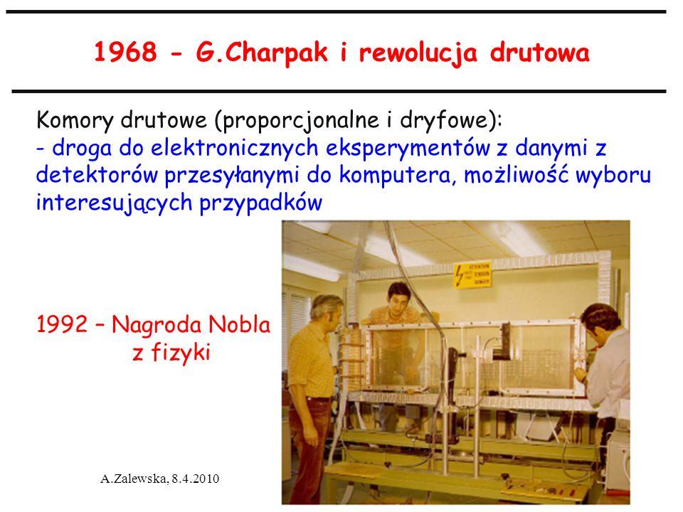 A.Zalewska, 8.4.2010 1968 - G.Charpak i rewolucja drutowa 1992 – Nagroda Nobla z fizyki Komory drutowe (proporcjonalne i dryfowe): - droga do elektron