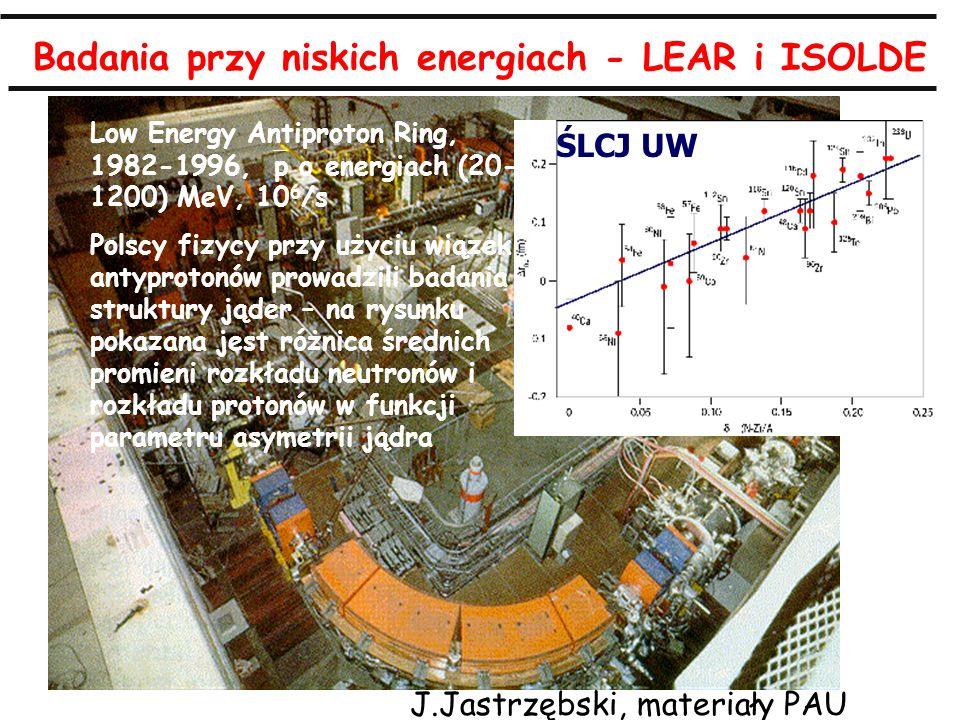 A.Zalewska, 8.4.2010 Badania przy niskich energiach - LEAR i ISOLDE Low Energy Antiproton Ring, 1982-1996, p o energiach (20- 1200) MeV, 10 6 /s Polsc