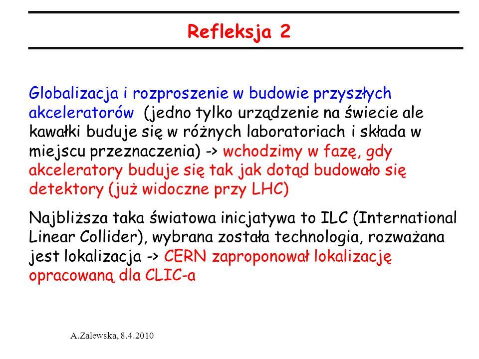 A.Zalewska, 8.4.2010 Refleksja 2 Globalizacja i rozproszenie w budowie przyszłych akceleratorów (jedno tylko urządzenie na świecie ale kawałki buduje