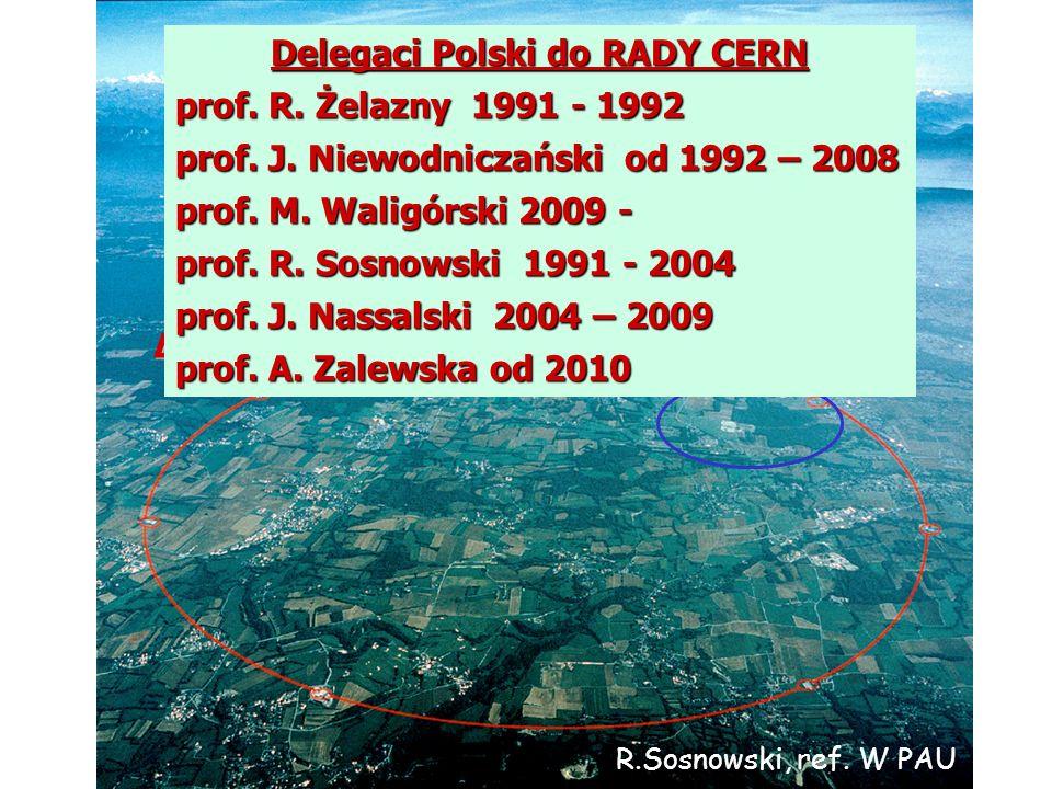 A.Zalewska, 8.4.2010 SPS LEP-LHC Delegaci Polski do RADY CERN prof. R. Żelazny 1991 - 1992 prof. J. Niewodniczański od 1992 – 2008 prof. M. Waligórski