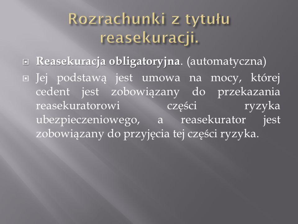 Reasekuracja obligatoryjna Reasekuracja obligatoryjna. (automatyczna) Jej podstawą jest umowa na mocy, której cedent jest zobowiązany do przekazania r