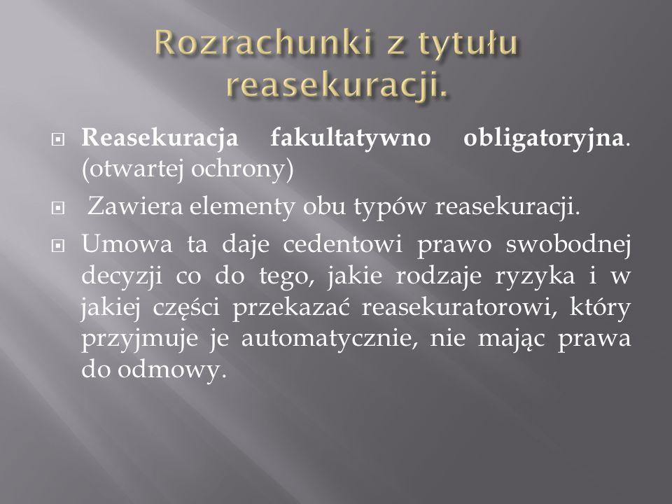 Reasekuracja fakultatywno obligatoryjna. (otwartej ochrony) Zawiera elementy obu typów reasekuracji. Umowa ta daje cedentowi prawo swobodnej decyzji c