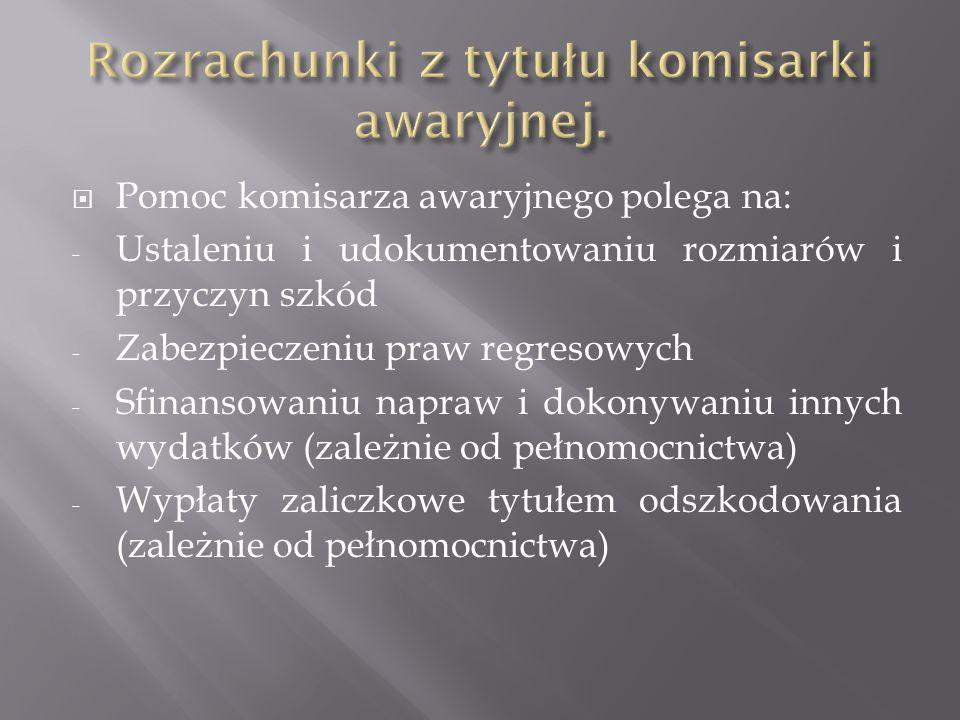 Pomoc komisarza awaryjnego polega na: - Ustaleniu i udokumentowaniu rozmiarów i przyczyn szkód - Zabezpieczeniu praw regresowych - Sfinansowaniu napra