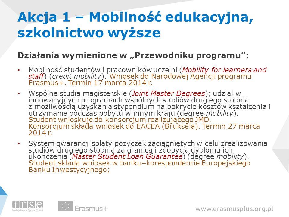 Akcja 1 – Mobilność edukacyjna, szkolnictwo wyższe Działania wymienione w Przewodniku programu: Mobilność studentów i pracowników uczelni (Mobility fo