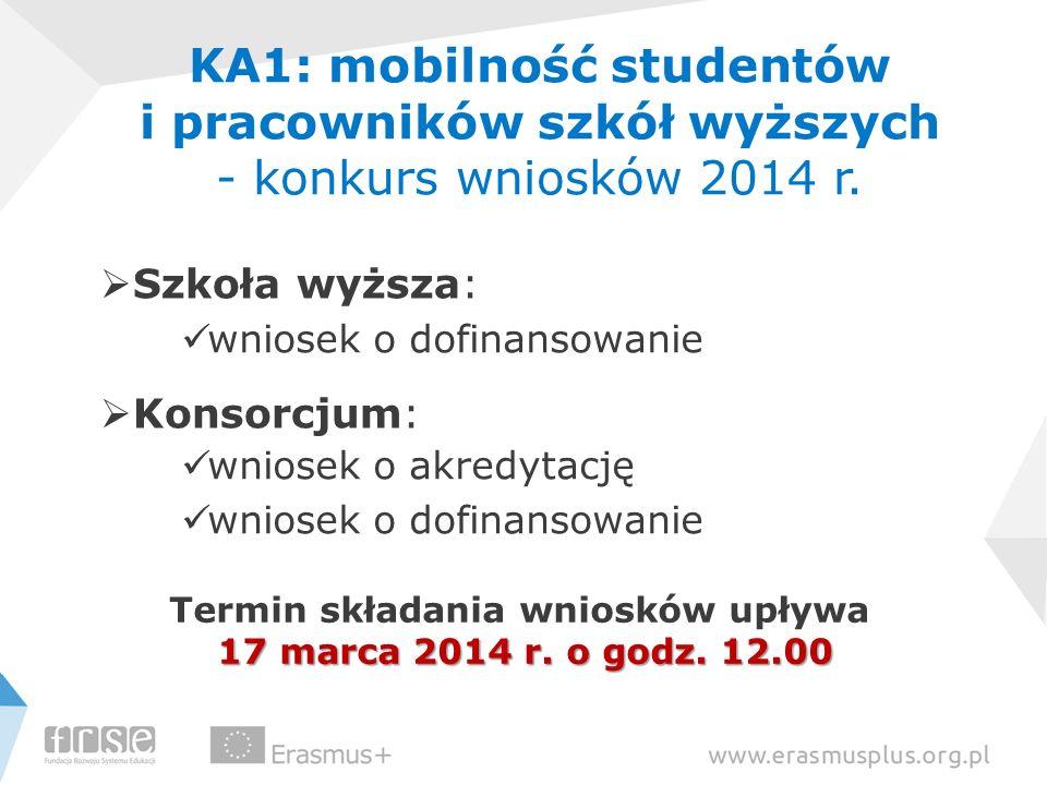 KA1: mobilność studentów i pracowników szkół wyższych - konkurs wniosków 2014 r. Szkoła wyższa: wniosek o dofinansowanie Konsorcjum: wniosek o akredyt