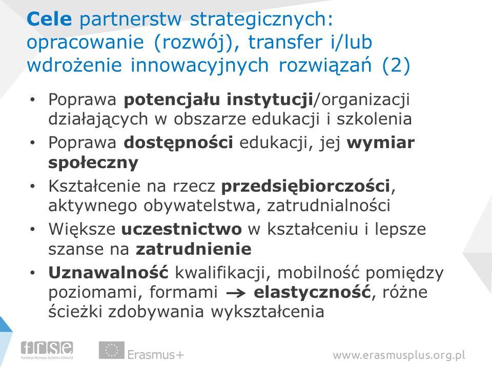 Cele partnerstw strategicznych: opracowanie (rozwój), transfer i/lub wdrożenie innowacyjnych rozwiązań (2) Poprawa potencjału instytucji/organizacji d
