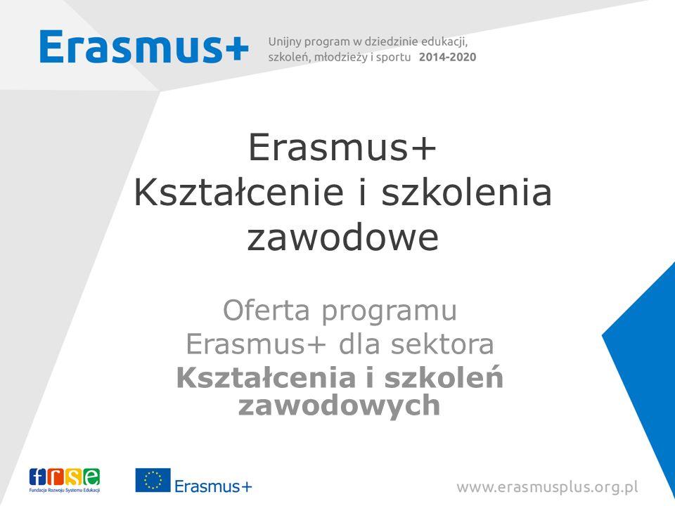 Erasmus+ Kształcenie i szkolenia zawodowe Oferta programu Erasmus+ dla sektora Kształcenia i szkoleń zawodowych