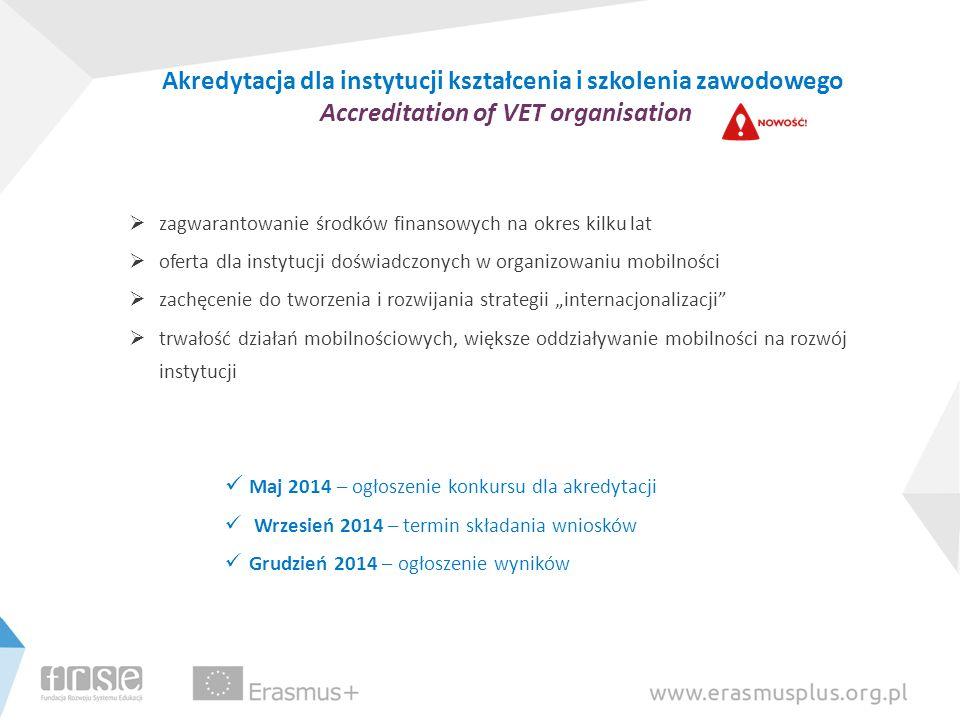 Akredytacja dla instytucji kształcenia i szkolenia zawodowego Accreditation of VET organisation zagwarantowanie środków finansowych na okres kilku lat