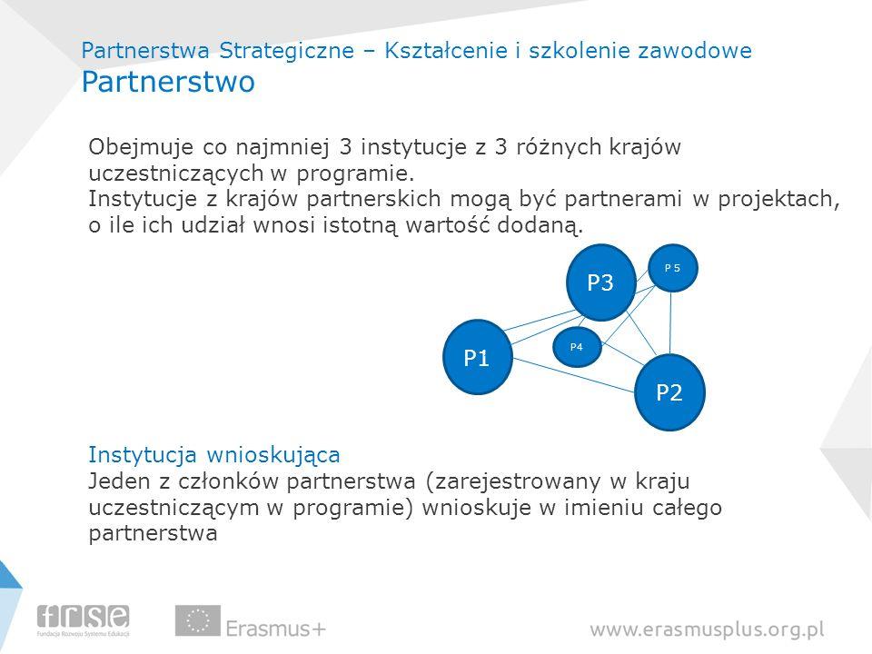 Partnerstwa Strategiczne – Kształcenie i szkolenie zawodowe Partnerstwo Obejmuje co najmniej 3 instytucje z 3 różnych krajów uczestniczących w program