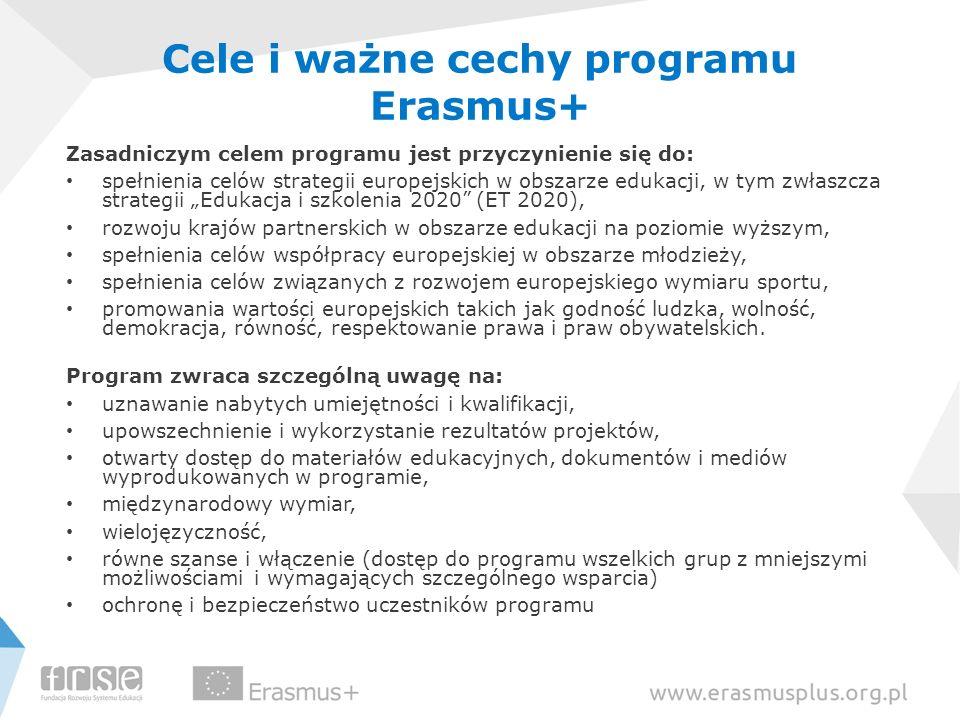 Cele i ważne cechy programu Erasmus+ Zasadniczym celem programu jest przyczynienie się do: spełnienia celów strategii europejskich w obszarze edukacji