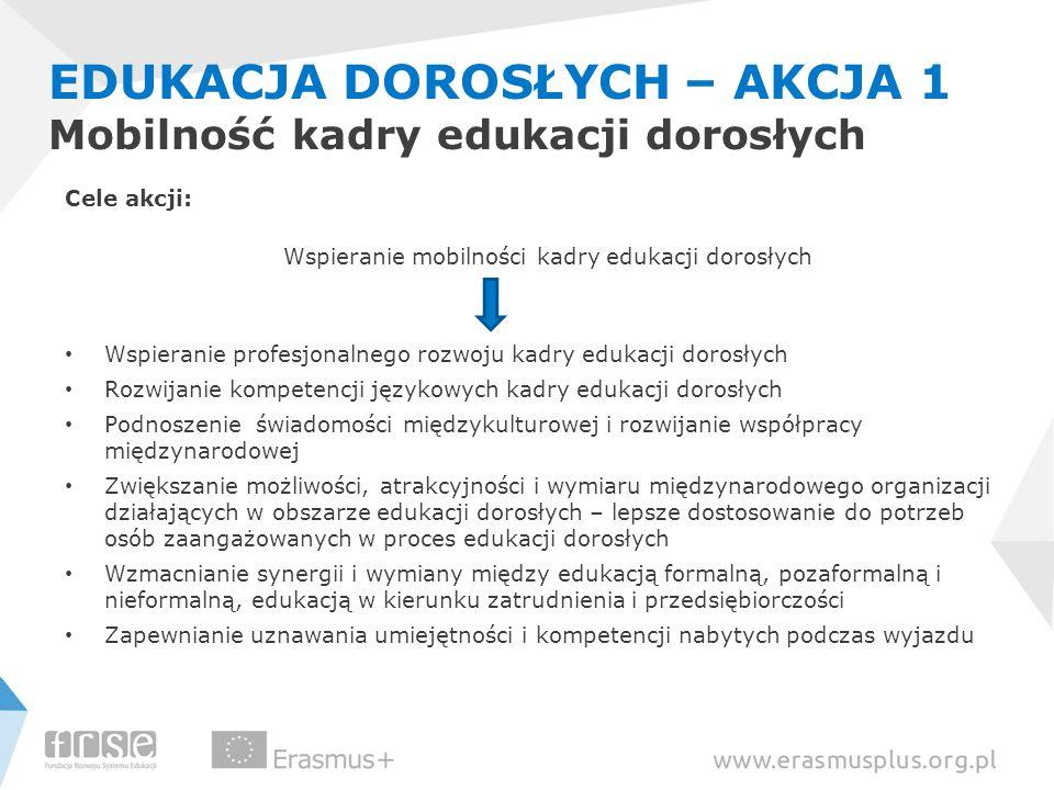EDUKACJA DOROSŁYCH – AKCJA 1 Mobilność kadry edukacji dorosłych Cele akcji: Wspieranie mobilności kadry edukacji dorosłych Wspieranie profesjonalnego