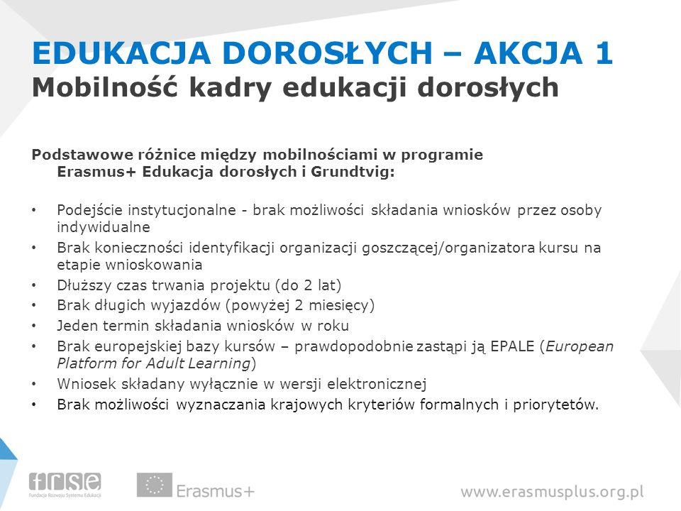 EDUKACJA DOROSŁYCH – AKCJA 1 Mobilność kadry edukacji dorosłych Podstawowe różnice między mobilnościami w programie Erasmus+ Edukacja dorosłych i Grun