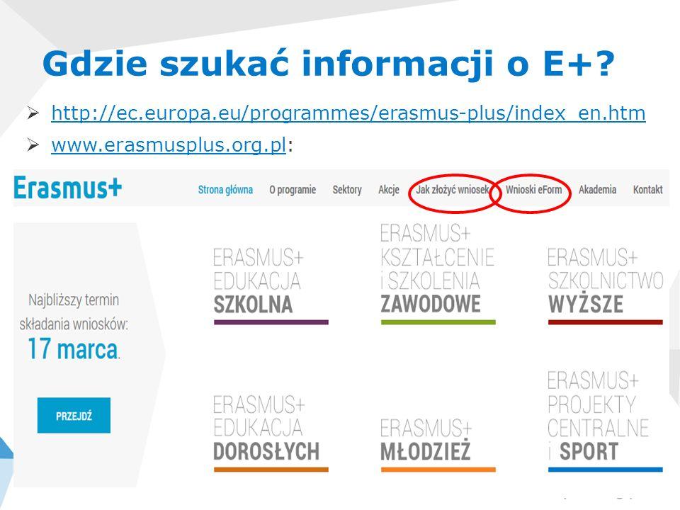 http://ec.europa.eu/programmes/erasmus-plus/index_en.htm www.erasmusplus.org.pl: www.erasmusplus.org.pl Gdzie szukać informacji o E+?